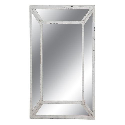 Καθρέπτης ορθογώνιος με διπλή λευκή πατίνα κορνίζα