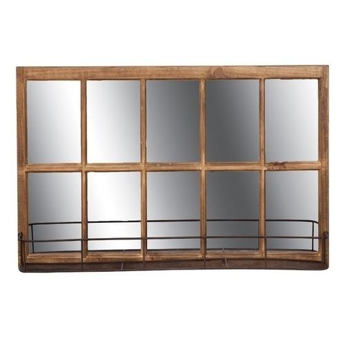 Ξύλινος καθρέπτης με ράφι
