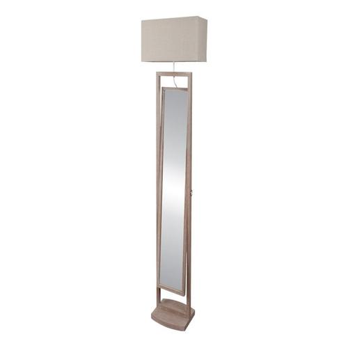 Ξύλινος επιδαπέδιος καθρέπτης με φωτιστικό