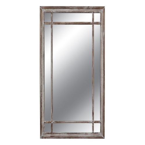 Καθρέπτης ορθογ. σχ. παράθυρο καφέ με άσπρη πατίν