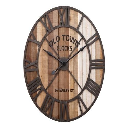 Ξύλινο στρόγγυλο ρολόι ''old town''