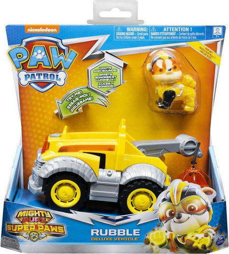 Paw Patrol Mighty Pups Super Paws Rubble Deluxe Vehicle 20115477 papanikolaoustore.gr